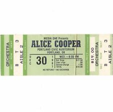 ALICE COOPER & FASTER PUSSYCAT Concert Ticket Stub PORTLAND OR 12/30/87 Rare
