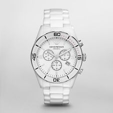 NEW EMPORIO ARMANI AR1424 WHITE CERAMIC MENS WATCH