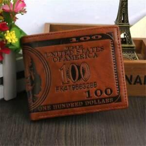 Men's US 100 Dollar Bill Leather Bifold Card Photo Holder Wallet Handbag Purse