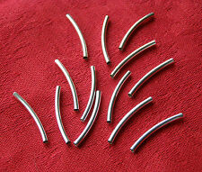 20 Pcs Bent Tube Pipe Silver Plated SP Spacer Beads Connectors 4 Jewelry Making