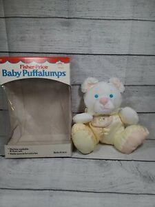 1988 Fisher-Price Puffalump Baby Bear Mouse Yellow White Stripes Plush Rattle
