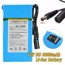 Portable 12V 8000mAh Rechargeable Li-ion Battery Pack 5.5*2.1mm For CCTV Camera