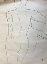 Original Pen and Ink Nude Drawing Art Studio Study Large Size on Paper