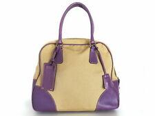 Authentic PRADA Khaki Purple Canvas Leather Handbag Purse
