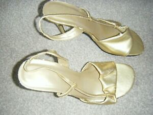 Ladies Gold Slim Heeled Slingback Sandals Size 5