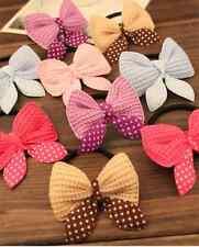 10PCS Women Bow Hairband Scrunchie Ponytail Holder Bow Hair Rope Color Random#1