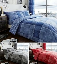 Denim Check Duvet Cover Quilt Cover Bedding Set Single Double King Superking