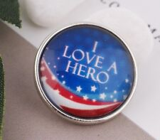 I LOVE A HERO Glass Snap 18 20mm Interchangeable Jewelry Fits Ginger Snaps FLAG