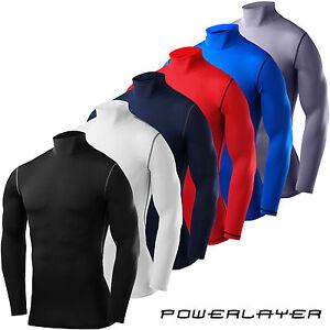 Compression Base Layer Long Sleeve PowerLayer Mens Boys Shirt Mock Neck