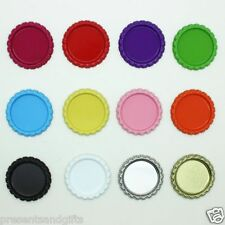 "✿ DOUBLE SIDED FLATTENED FLAT BOTTLE CAPS 1"" 25mm ROUND CHOOSE COLOUR ( HAIR ) ✿"