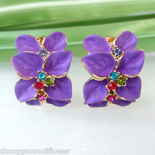 Navachi Purple Enamel Flower Leaves 18K GP Crystal Buckle Earrings BH1509