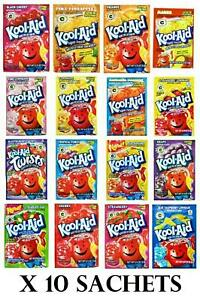 Kool Aid 10 Sachets American Import Powder Mix Drink Selection Unsweetened