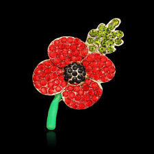 Hot Red Remembrance Poppy Pin Brooch Banquet Crystal Badge Flower Gift UK SELLER