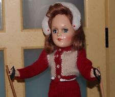 Original Mary Hoyer Hard Plastic Doll with red handknit ski outfit