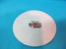 """6"""" WHITE McCOY POTTERY ROTATING HOT PLATE TRIVET WITH VEGETABLES #1052"""