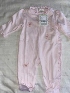 NWT Kissy Kissy Premier pink hand embroidery footie size 0-3 Months