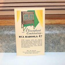 RCA Radiola 47 Radio Postcard- Unused -Browns Valley MN