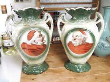 Pair of German catholic cardinal porcelain vases c1910-30s