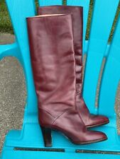 Joan And David Vintage Red Leather High Heel Knee High Boots Size 7.5