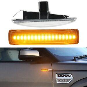 Clear Lens LED Side Marker Blinker Turn Signal Light For Land Rover LR2 LR3 LR4
