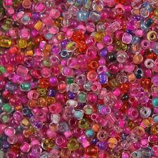 1kg Misto Rosa Trasparente & all' interno di vetro colorato semi Rotonda Perline 11/0 2mm