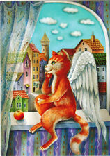 CAT - ANGEL has very good view at the window Modern Russian postcard