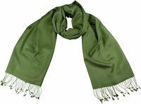 Pashmina Schal 70% Cashmere 30% Seide Olive Grün 56x182 cm scarf silk handwoven