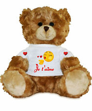 Peluche ourson coeur je t'aime cadeau personnalisable avec prénom /texte réf 101