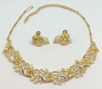 Vintage Coro Yellow and Orange Rhinestone & Gold Tone Necklace and Earring Set