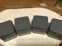 "Lot Of 4 Decorative Storage Tins Blue & Cream NFR 3.5"" Sq.Super Condition!"