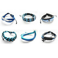 Braided Black/Blue/White/Turquoise Leather Waxed Cord Surfer Bracelet Wristband