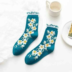 Women's Embroidery Floral Cotton Socks Middle Tube Breathable Ankle Crew Socks