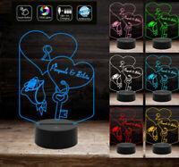 LAMPADA LED 7 colori Incisione Cuore e Nomi Idea regalo San Valentino Natale