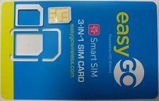 EasyGo PREPAID 4G LTE Prepaid Smart Sim Card on AT&T Network. Nano, Micro, REG