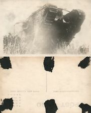 WWI TANK IN ACTION REAL PHOTO POSTCARD ANTIQUE RPPC