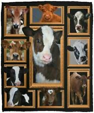 Cow Collection L White Fleece Blanket