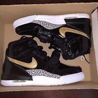 Nike Air Jordan Legacy 312 Black Gold Grade School Glossy AT4040 007 Size 7Y NEW
