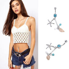 Conch Starfish Surgical Steel Dangle Navel Belly Ring Barbell Body Piercing Ring