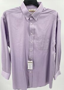 Gold Label Purple Dress Shirt Size Men's 17.5 33 Ribbed Top Roundtree Yorke New