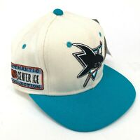 Vintage San Jose Sharks Sports Specialties Fitted Hat Shark Eating Hockey Stick