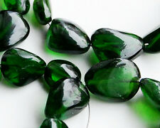 Natural Chrome Diopside Smooth Plain Nugget Gemstone Beads (5pcs)