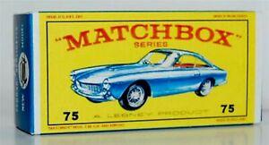 Matchbox Lesney No 75 FERRARI BERLINETTA  BLUE empty Repro E style Box+