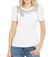 International Concepts Womens L Tassel Neck Tee White Blouse Top Puffed Sleeve