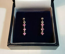1 Pair of Hallmark 375 9CT WHITE GOLD, 4 DIAMOND, 6 PINK SAPPHIRE EARRINGS Boxed