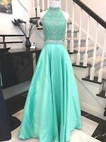 Mint 2 pieces Beaded Long Prom Dress Pageant Gown
