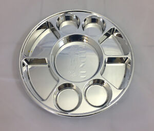 9 Compartments Silver Round Disposable Party Tray Thali Langar Plates 200 Pack
