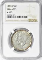 1936-D Arkansas Commemorative Silver Half Dollar - NGC MS-65 - Mint State 65