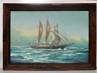 Large Framed Oil painting on Canvas, Sailing ship in the ocean, Signed