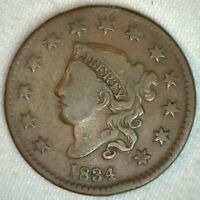 1834 Coronet Head US Large Cent Copper Coin Fine Grade 1c US Penny Coin