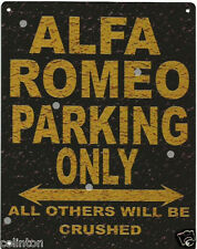 ALFA ROMEO PARKING METAL SIGN RUSTIC VINTAGE STYLE 8x10in 20x25cm garage